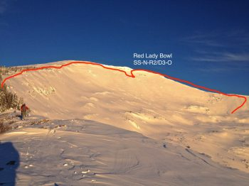 Extent of 2015 natural avalanche in Red Lady Bowl.